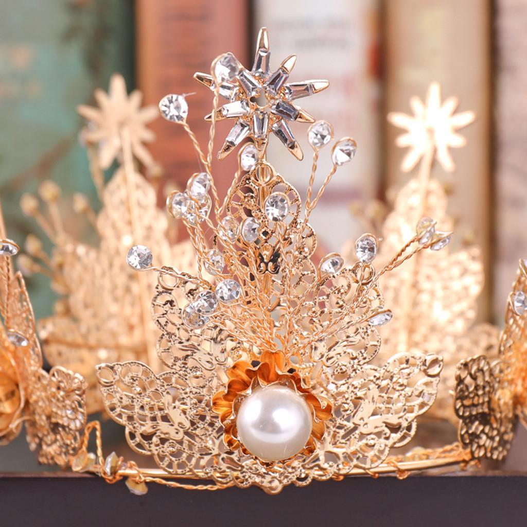 ... Perhiasan Kedatangan Gold Mahkota Penuh Diamond Zircon Bunga Mutiara Ikat Kepala Berongga Karet Rambut Wanita ...