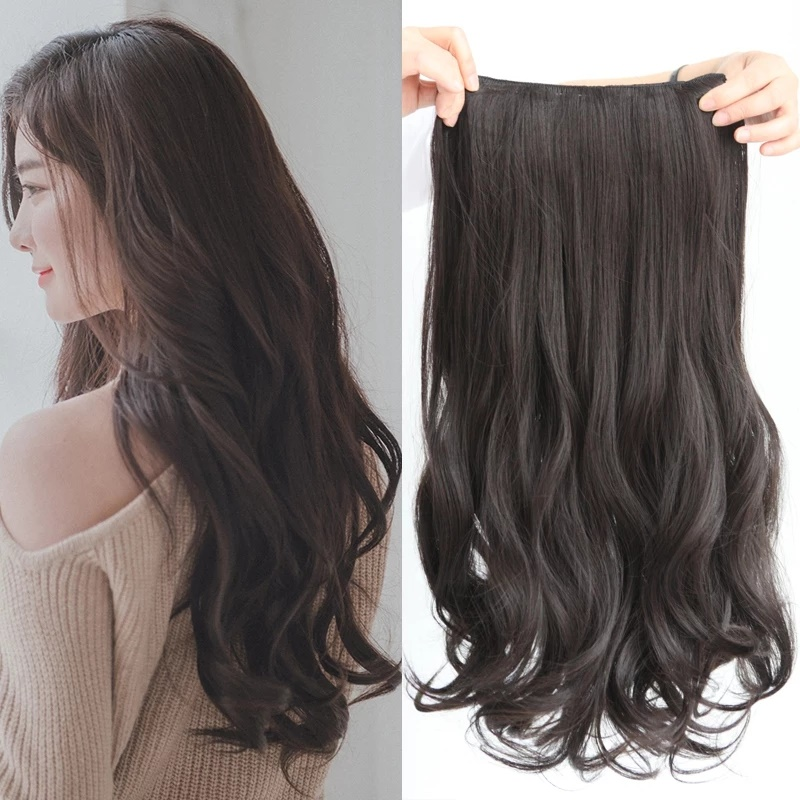 js hairclip wave curly keriting gelombang big layer 45cm hair clip high quality – dark brown ( coklat gelap )