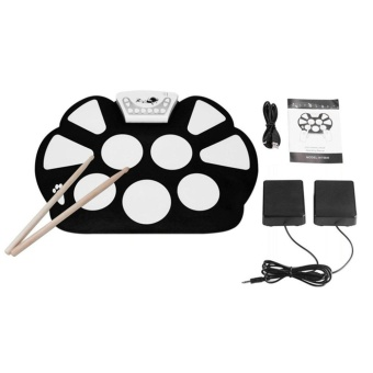 ERA W758S Portable 9 Pads Digital USB Roll up Silicone ElectronicDrum Pad Kit Black&White - intl