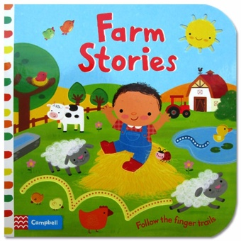Hellopandabooks - Farm Stories - Follow the Finger Trails Board Book with touch & feel texture and flaps to lift