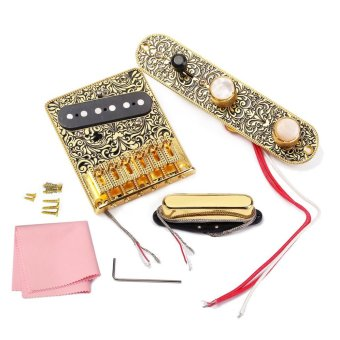 High-quality Electric Guitar 6 Saddle String Bridge Pickup Set with 3 Way Switch Control Plate Beautiful Decorative Pattern - intl