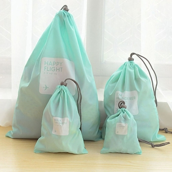 Harga A Set of 4pcs Universal Outdoor Travel Waterproof Nylon Drawstring Storage Bags Pouches Organizers in Different Sizes (Sky-blue)