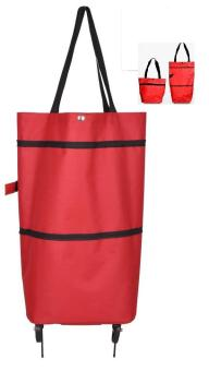 Harga Paling Laku Foldable Trolley Bag - Hand Bag and Trolley In One Bag - Merah