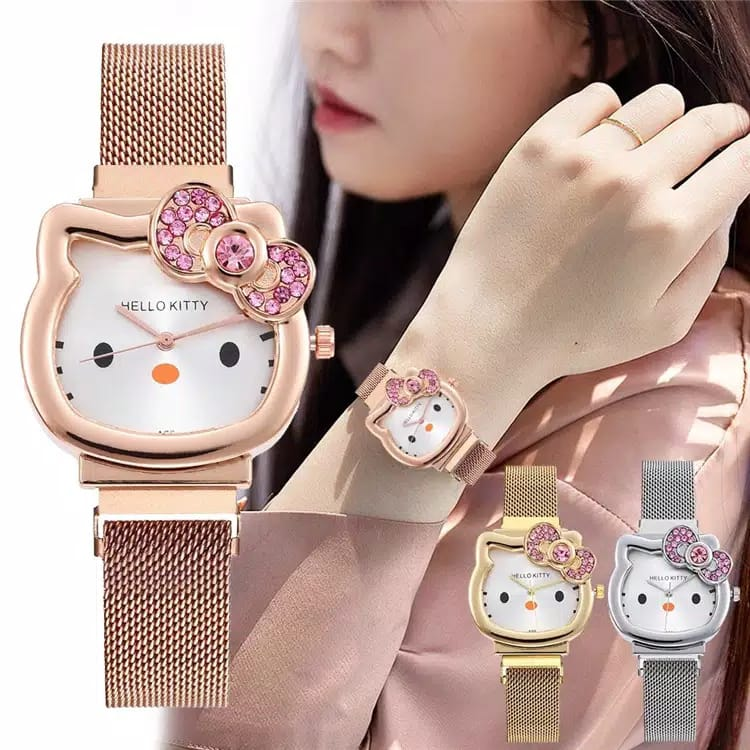 [sm-✅cod]hk-165 jam tangan fashion anak-anak karakter hello kitty strap magnet