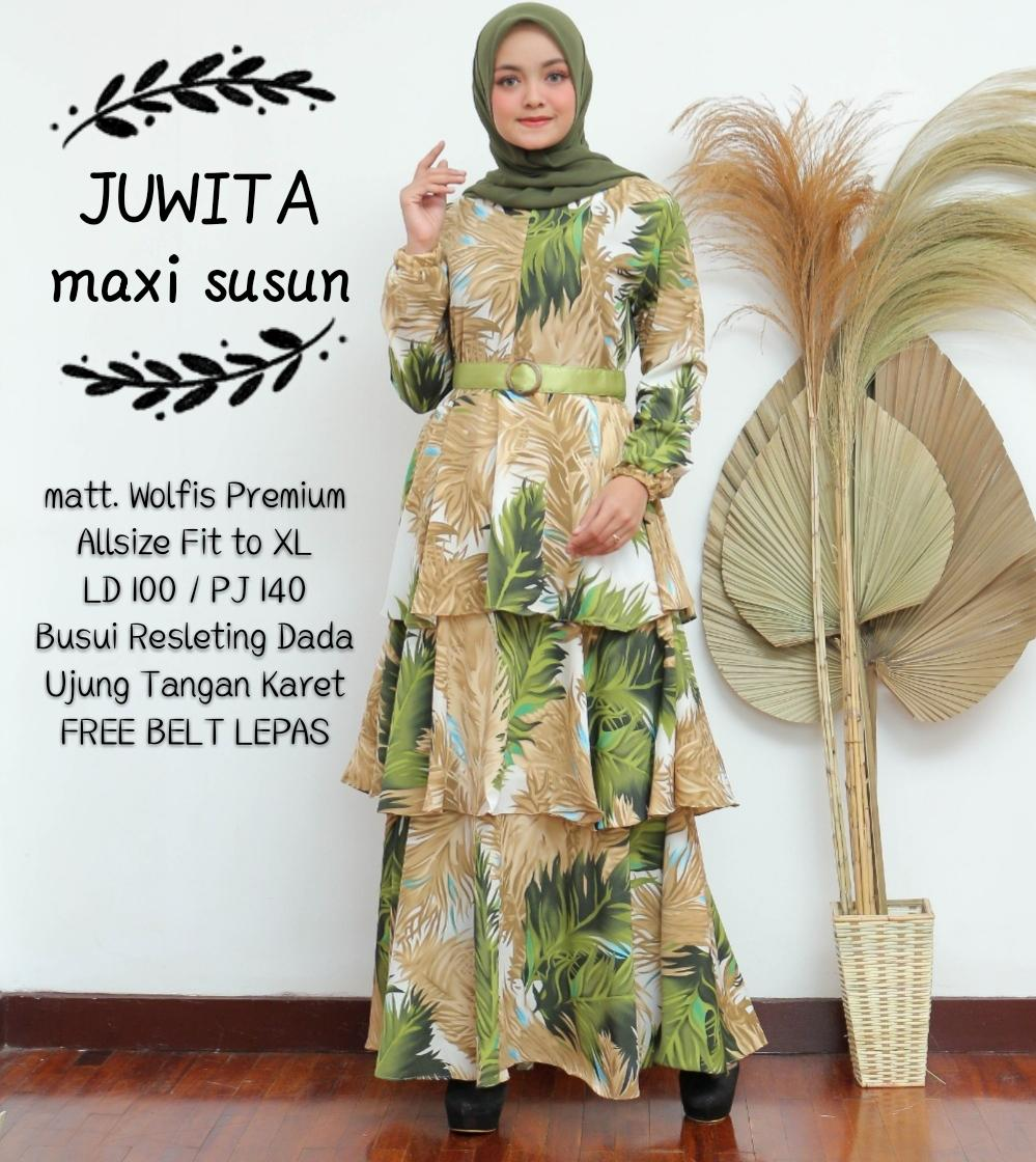 cod gamis alwa maxi bahan wolfis baju muslim wanita