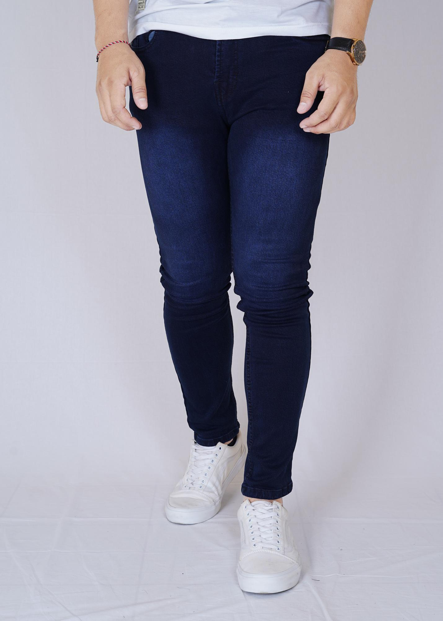 Zoeystore1 6416 Celena Jeans Panjang Pria Celana Jeans Skinny Cowok Washing Blue Cut Rips Celana Jeans