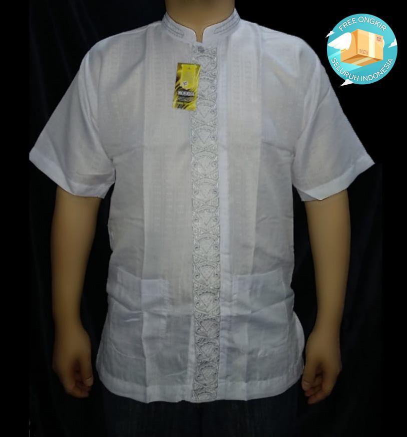 jagoan fashion – baju koko putih lengan pendek bordir  terlaris – free dos baju !