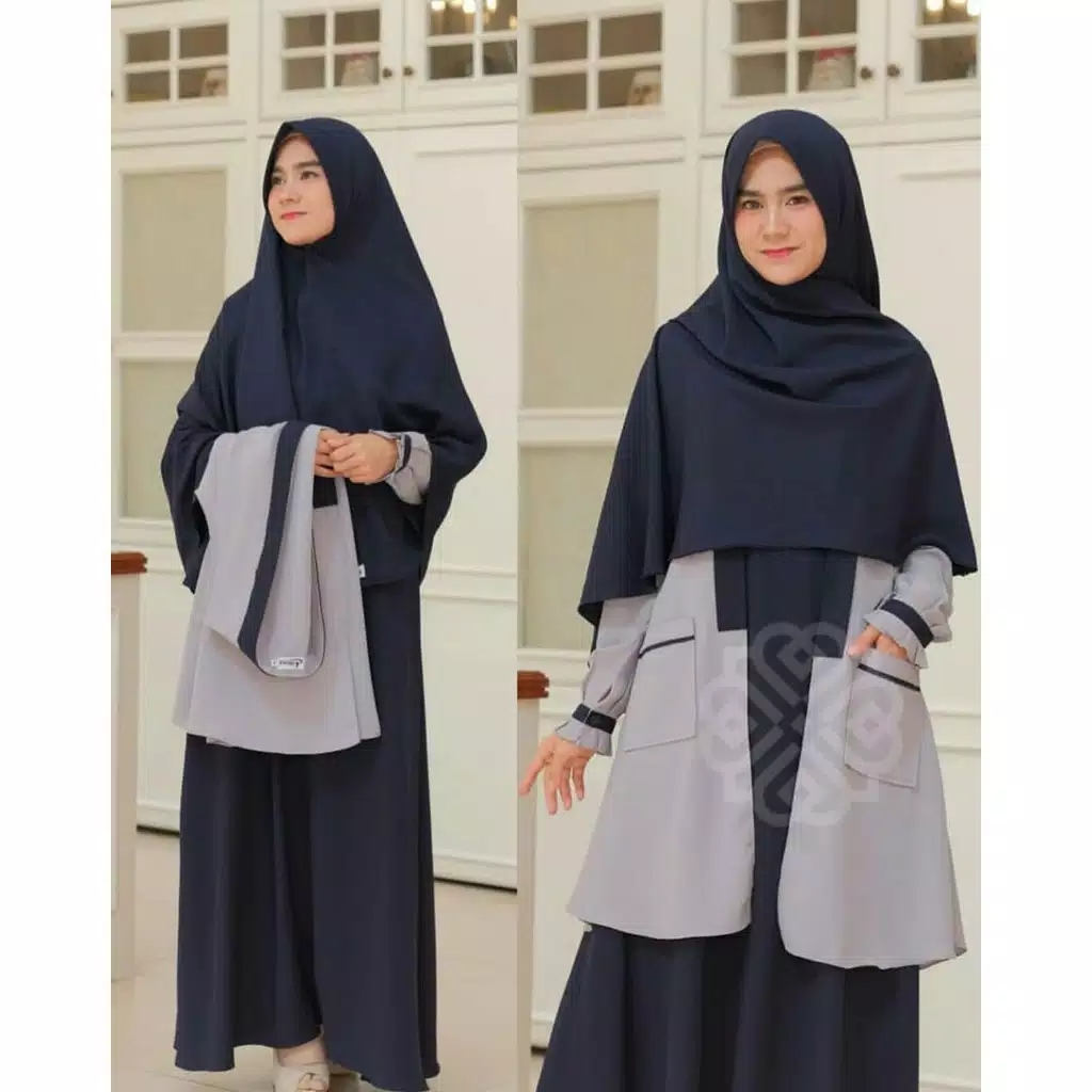 DRES MAXI ELBINA SET DRESS &amp OUTER ( no hijab ) DRESS TERBARU ( BISA COD ) ADA SIZE S M L XL