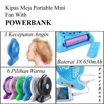 Harga HOKI COD - Kipas Angin Rechargeable Mini Baterry Charge & Usb Cable Bundle With Powerbank Function - Multi Colour