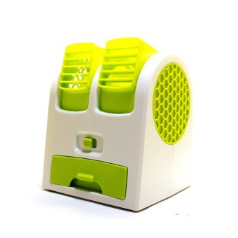 Harga MiiBox Kipas Angin Mini / Fan Air Conditioning With USB & AA Battery Powered (Hijau)