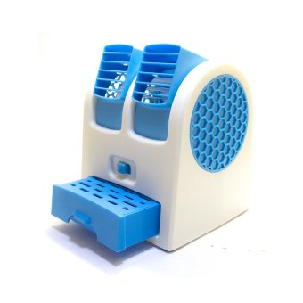 Harga MiiBox Kipas Angin Mini / Fan Air Conditioning With USB & AA Battery Powered (Biru)