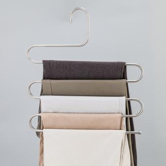 Stainless steel multifungsi sihir s-jenis celana rak celana