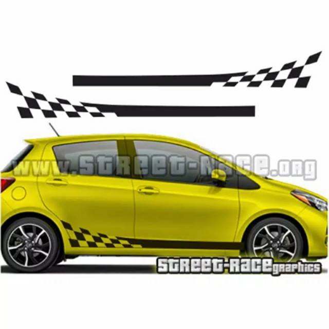 cutting sticker stripping mobil yaris jazz agya ayla hatback flag