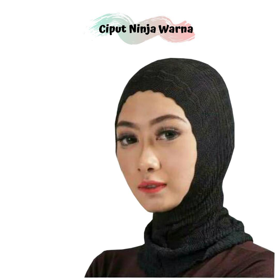 minara – ciput rajut zigzag 2 warna kepala nanas / iner bandana  anti pusing