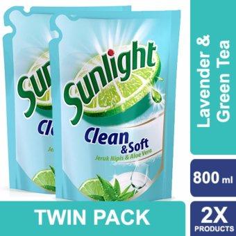 Sunlight Sabun Cuci Piring Clean & Soft Botol 750ml Twin Pack