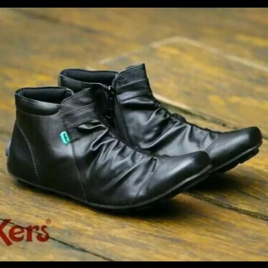 cod !! promo #gratis #sepatu pria boots non safety hitam sleting slip on justin wringkel trendy  #krokodile #kickers