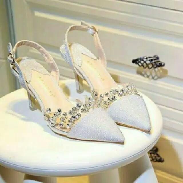 High heels 55 pesta silver gliter permata baru murah
