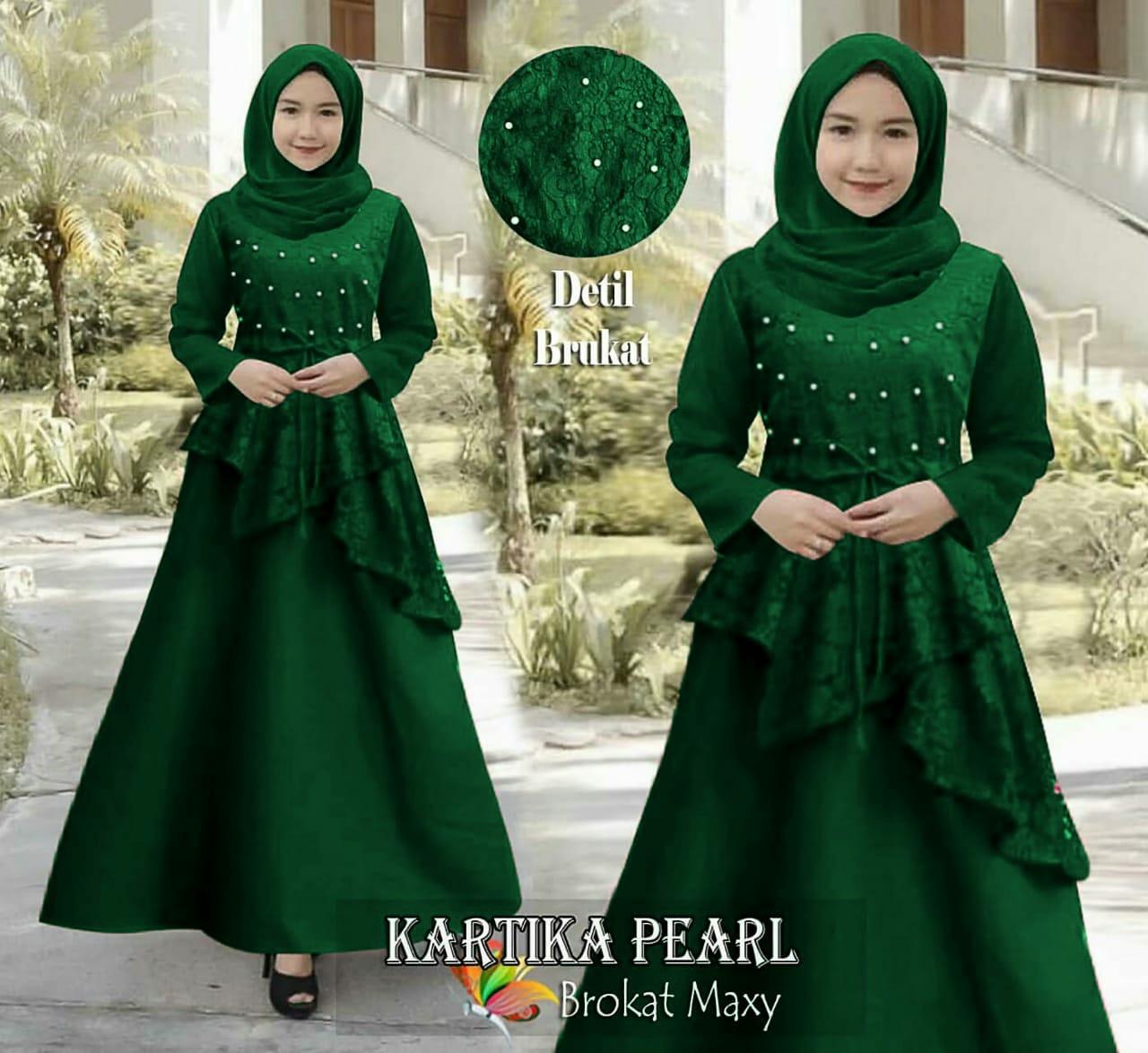 mj fashion wanita dress / maxy / gamis wanita kartika green furring – brokat