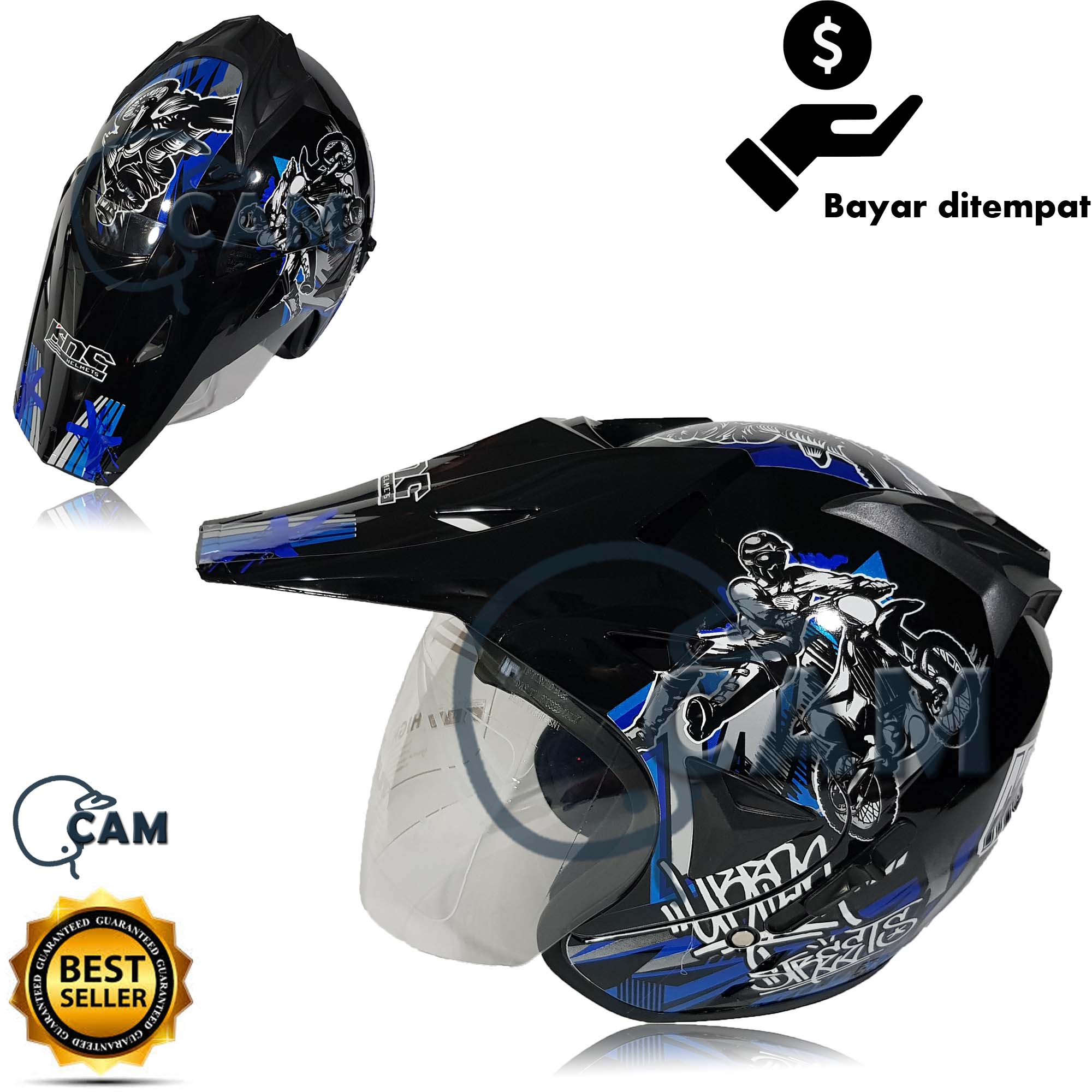 helm semi trail moto cross black gloss bukan jpx ink nhk gm