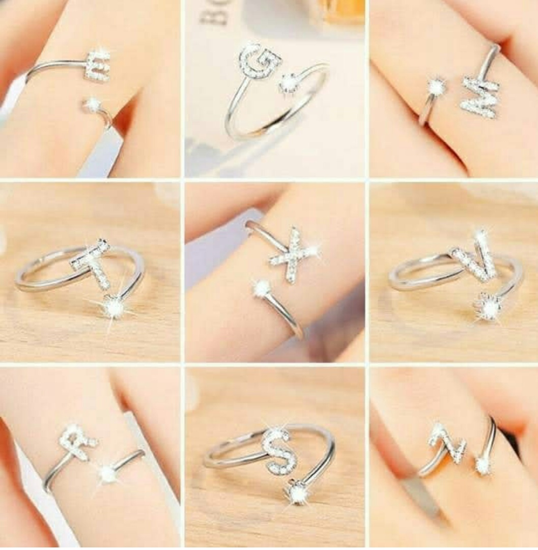 ciremai store – cincin huruf perhiasan perak silver berlian imitasi – cincin huruf – cincin inisial – cincin nama -cincin wanita – cincin xuping emas – cincin xuping huruf a sampai z