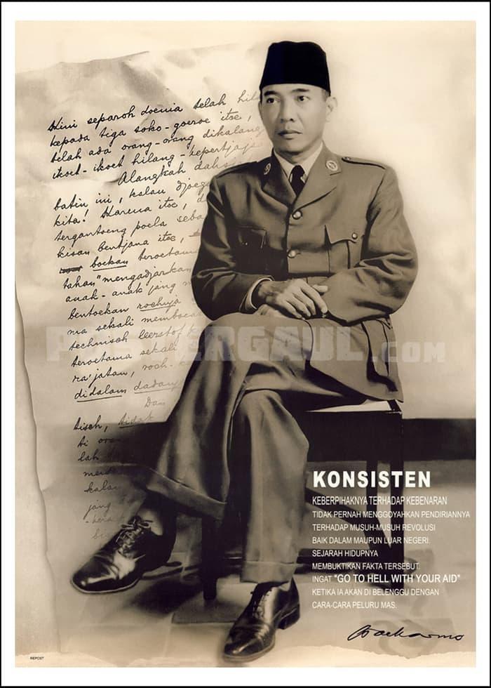 BEST SELLER Poster PRESIDEN SOEKARNO 01: KONSISTEN - Jumbo size 50 x 70 cm -
