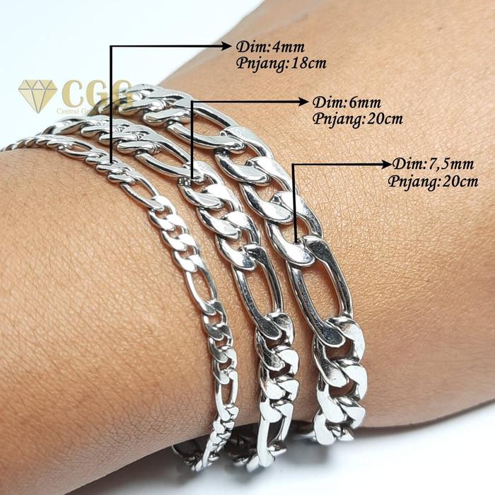 gelang pria titanium silver model rantai