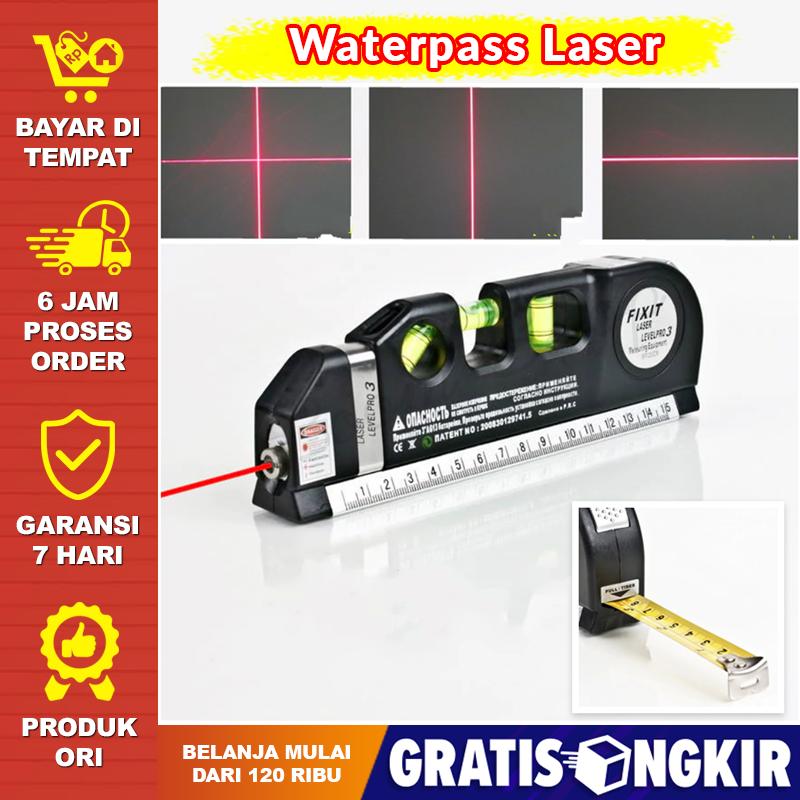 penggaris + waterpass laser 250 cm meteran tukang bangunan waterpass kerami water pas water pass panjang levelpro3 penggaris laser horizontal 250cm + waterpass