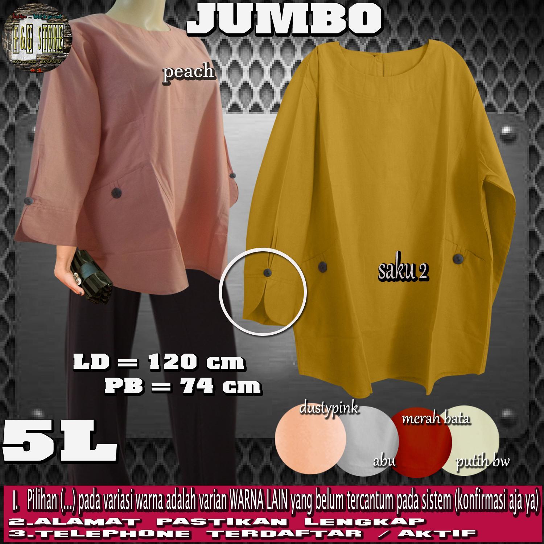 F&G Baju Atasan Wanita / Blouse Wanita JUMBO / Atasan Wanita JUMBO Saku 2 - Lengan