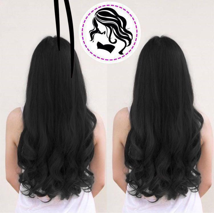 js hairclip wave curly keriting gelombang big layer 45cm hair clip high quality – black ( hitam )