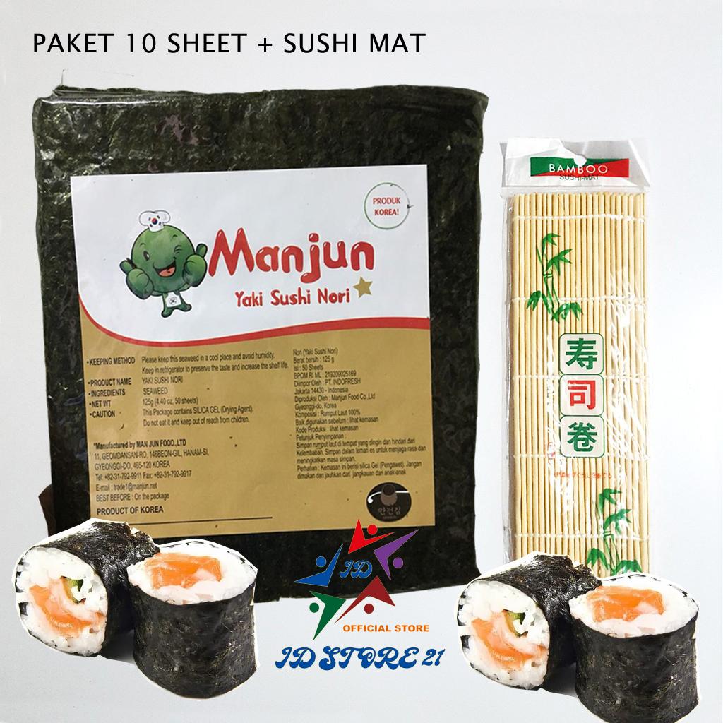 paket nori manjun 10 lembar yaki sushi manjun nori rumput laut seaweed 10 sheet