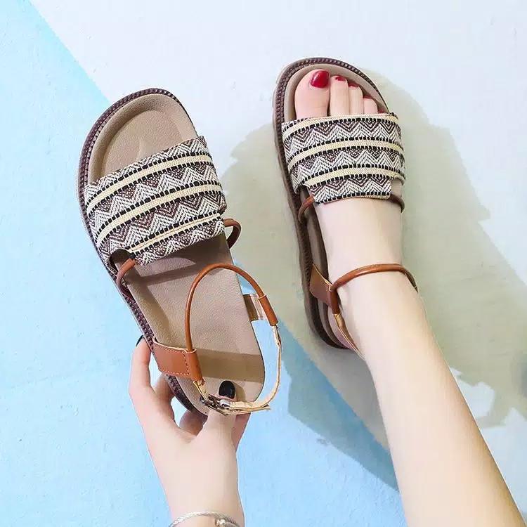 rosty {cod/bayar tempat} sandal wanita kanvas flat motif tribal best er/sandal teplek wanita sehari-hari/sandal flat wanita kanvas fashion korea style/sandal wanita teplek hangout/sandal trisha