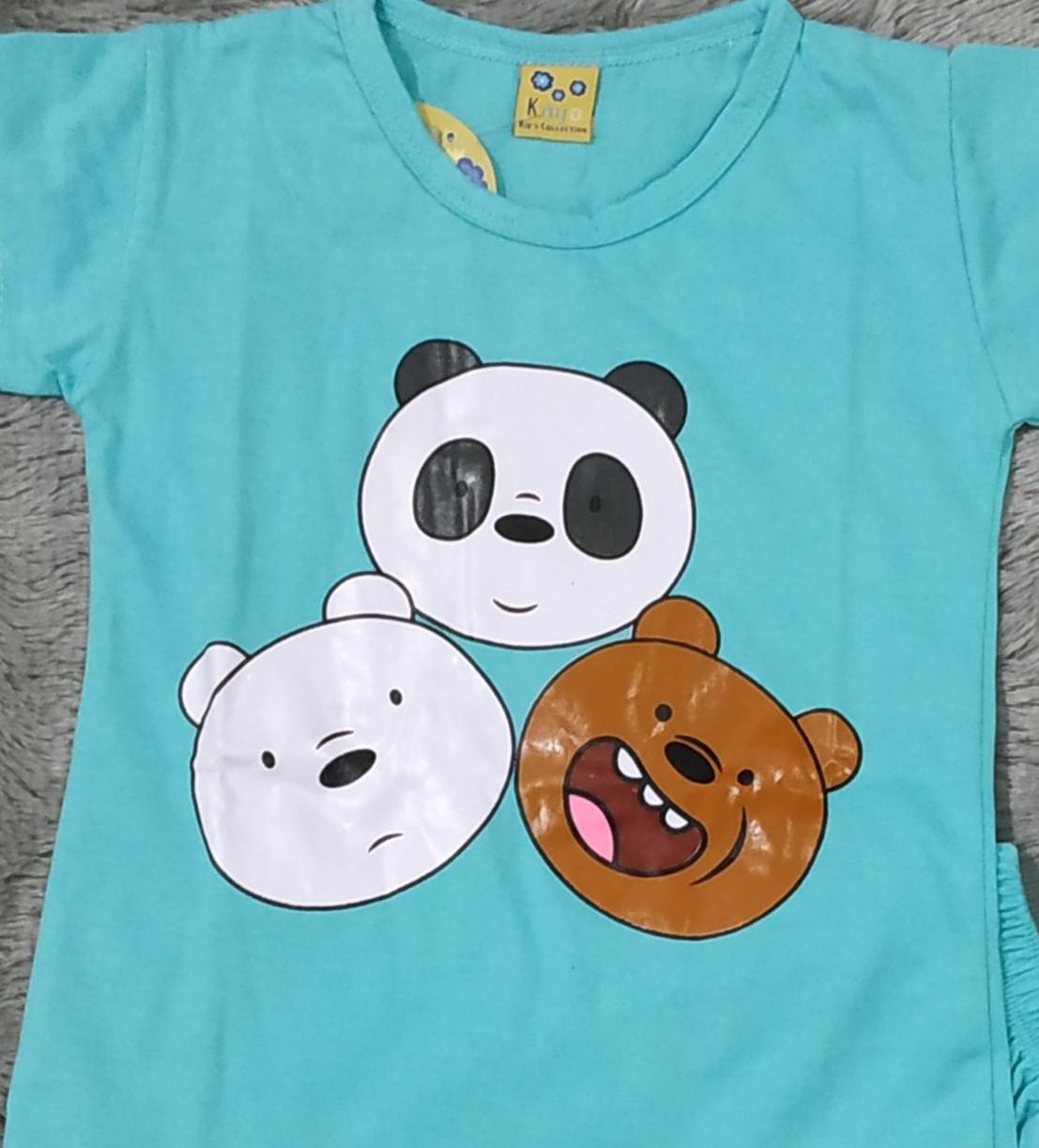 cod baju anak anak setelan we bare bear serial ice bear size s m l xl umur 0 – 4 tahun