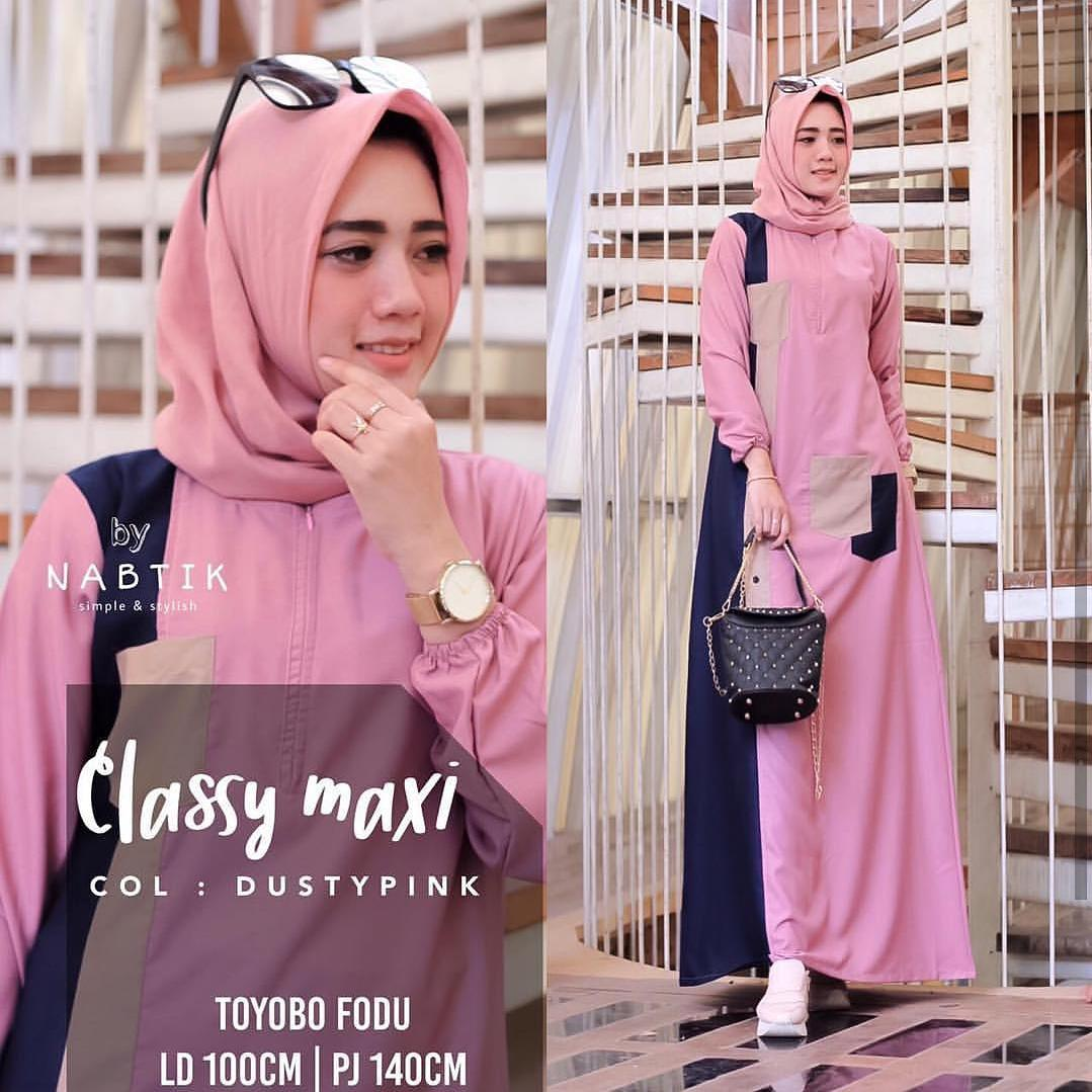 Baju Murah Terbaru Gamis Classy Maxi Dress Moscrepe Trendy Modern Wanita Baju Panjang Stelan Polos Muslim