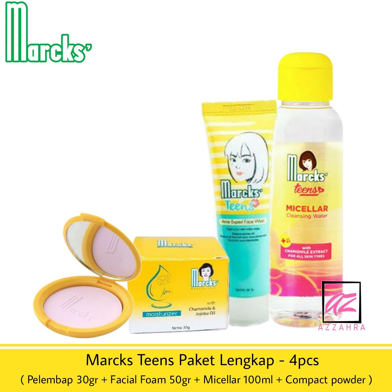 marcks teens paket  – 4pcs ( foam 50gr + pelembap 30gr + micellar 100ml + compact powder )
