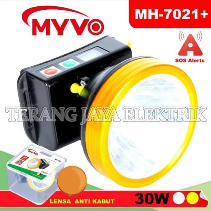 senter kepala led 30w 6 mode+sos+indicator baterai/ putih myvo mh-7021