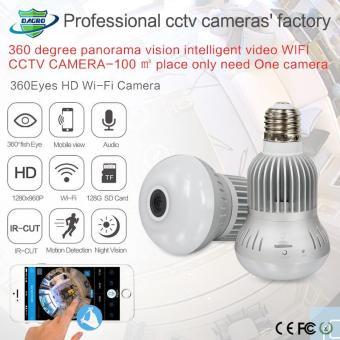 1.3MP 360 Degree Kamera WIFI Wireless IP Camera Wi-Fi Bulb Lampu Fisheye Panorama