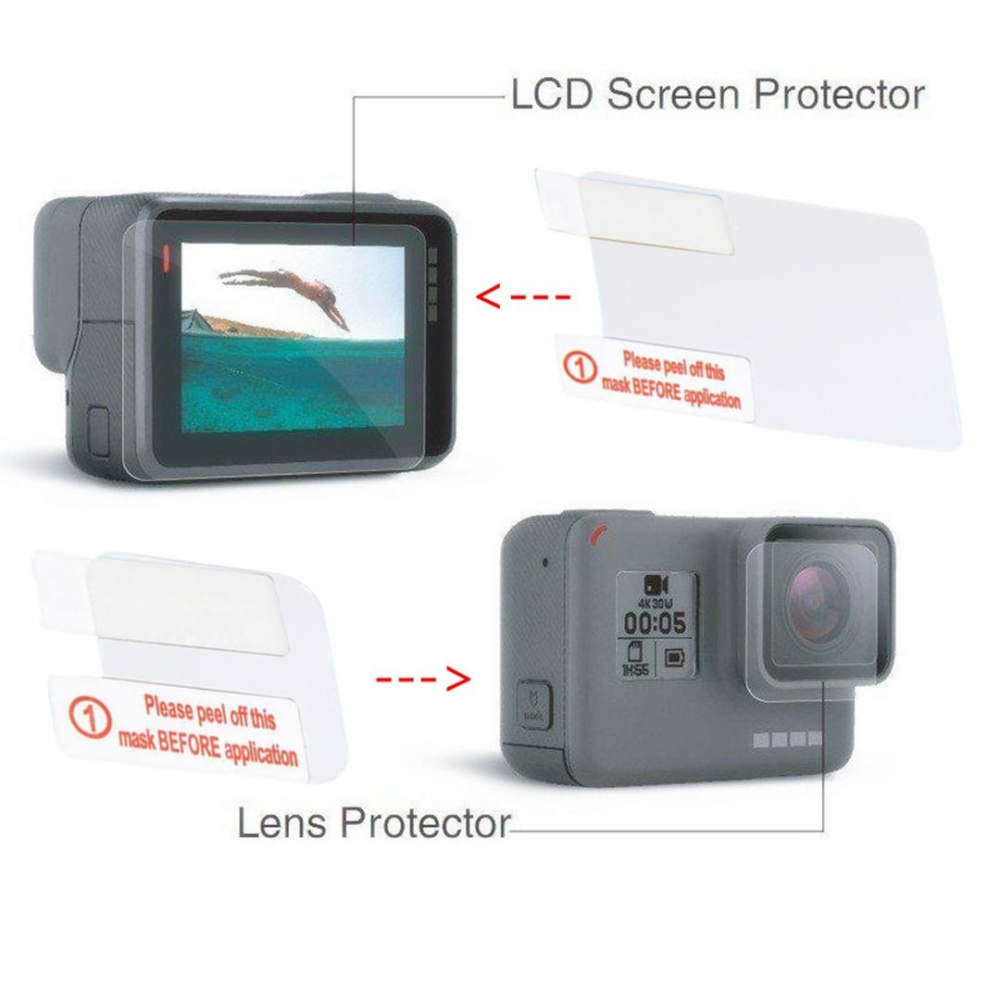 2 In 1 untuk GOPRO HERO 5 Lensa LCD Screen Protector Film Pelindung Guard Black-