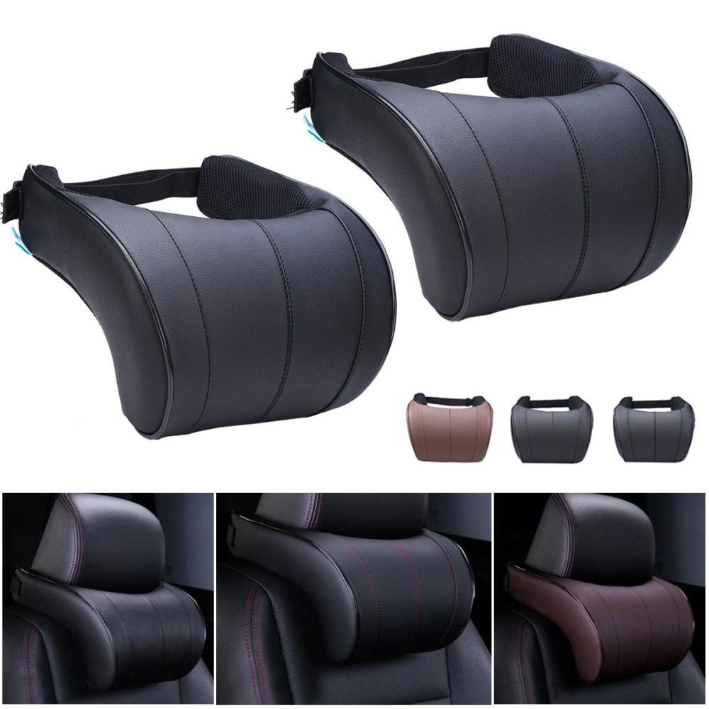 2 PC Kursi Kulit Headrest Pad Auto Mobil Perjalanan Bersantai Leher Memori Memori Busa Bantal-
