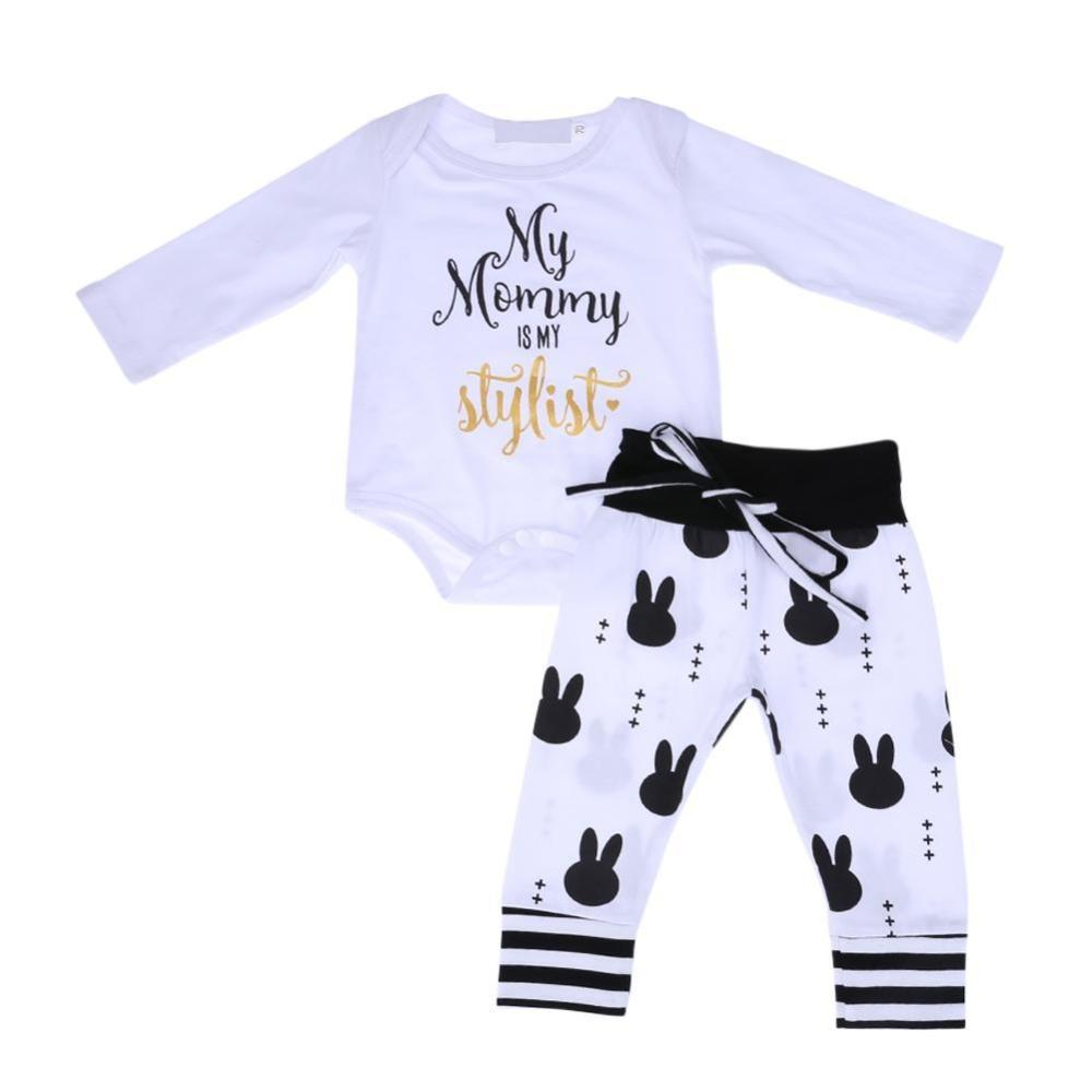 Cek Harga Baru 2 Buah Baju Bayi Kelinci Yang Imut Top Celana Pendek Pcs Lengan Panjang Romper Dicetak Intl
