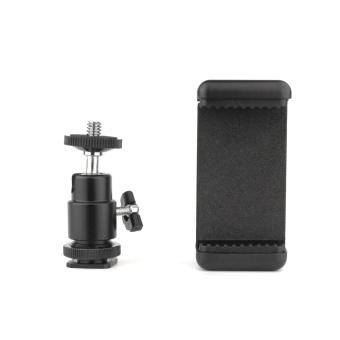 Ball Head Hot Shoe Adapter Mount + Phone Clip Holder for DSLR SLR Camera