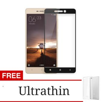 3D Full Cover Tempered Glass Screen Protector for Xiaomi Redmi Note4 - Black + Gratis Ultrathin