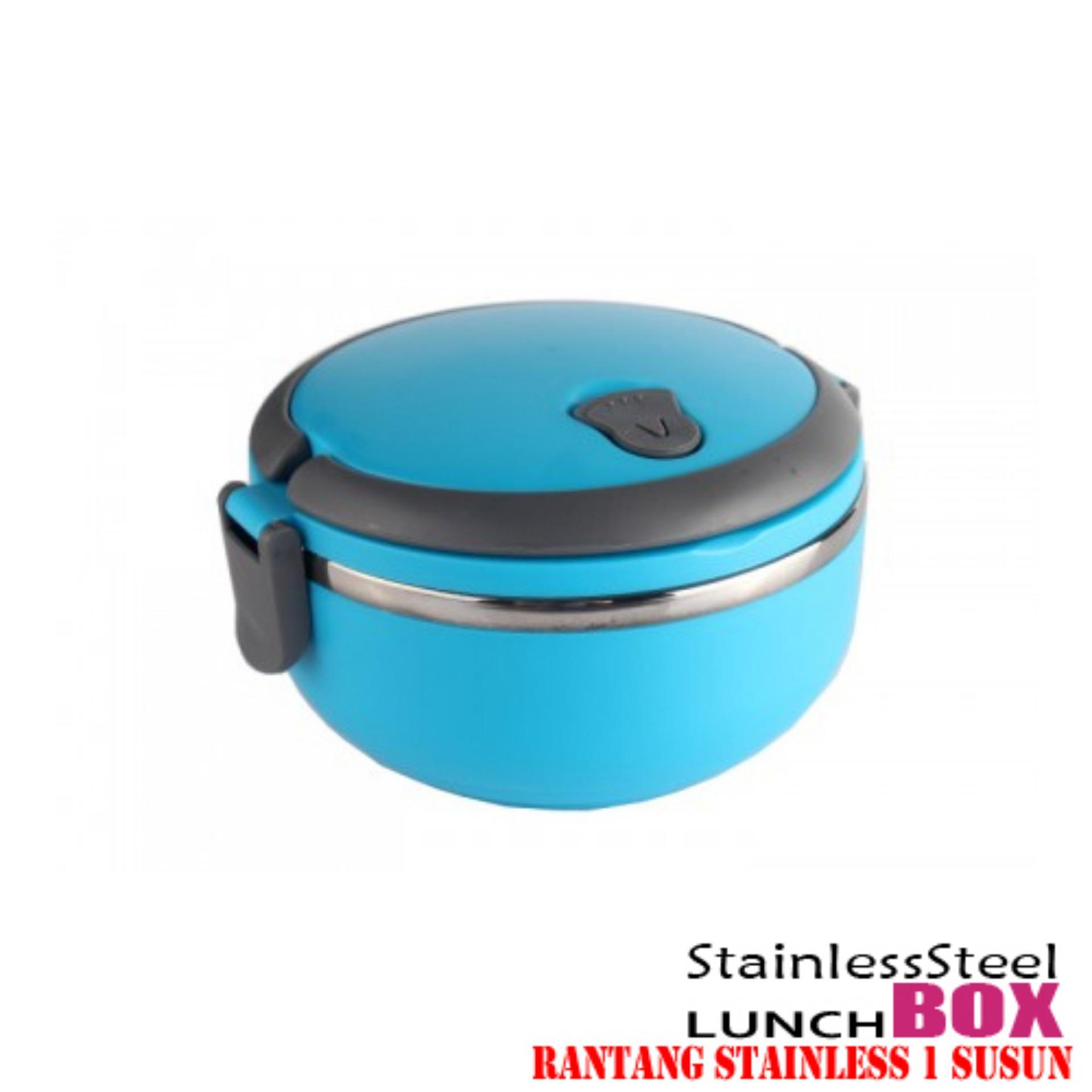 555 Lunch box rantang stainless steel 1 susun - biru