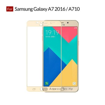 Full Cover Tempered Glass Warna Screen Protector for Samsung Galaxy A7 2016 / A710 - Gold