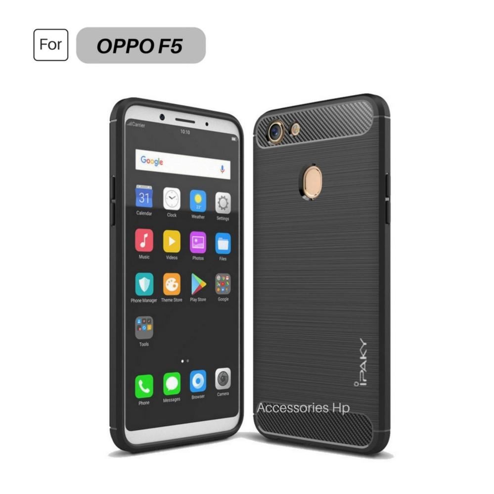 Premium Quality Carbon Shockproof Hybrid Case for OPPO F5 - Black