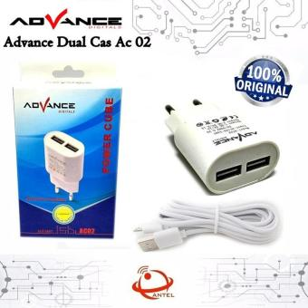 Advance Charger 2 usb + cable micro usb 2 ampere - AC02 - New