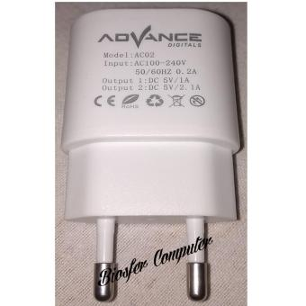 ADVANCE POWER CUBE AC02 ADAPTOR CHARGER 2 USB -2AMPERE-KABEL MICRO