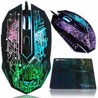 Alcatroz X-Craft TRON5000 Macro Gaming Mouse 6D USB with Mousepad -Hitam