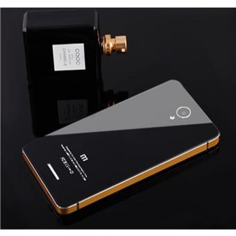 Aluminium Tempered Glass Hard Case for Xiaomi Redmi Note 2 - Black Gold