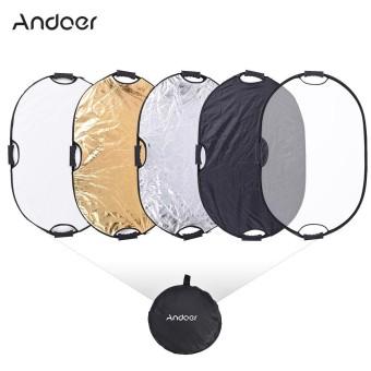Andoer 90*60 Cm Portable Handheld Oval Dilipat 5in1 Multi Reflector dengan Gold/Silver