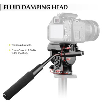 Andoer ABS 360degree Fluid Drag Video Action Head Panoramic Hydraulic Damping Photographic Head for Canon Nikon Sony DSLR Camera Camcorder for Tripod Monopod Slider Shooting Filming Outdoorfree - intl
